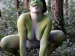 Stark naked Asian immense frog lady in the swamp HD