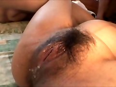 Japanese knocked up chick group-fucked by a bunch of guys