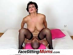 Humungous boobs lady Greta old young face-sitting and pussy eating