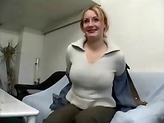 Plump mature blond female gives interview and undresses