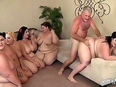 5 Horny BBWs fucked by 3 stiffys