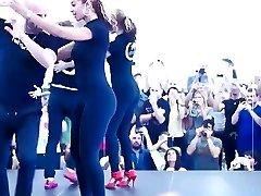 Beautiful girl dancing in leggings