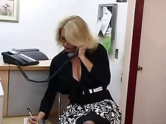 Mature secretary gets jism on her giant tits
