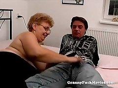 A fat grandmother has sex