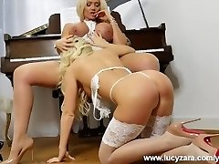 Ash-blonde lesbian babes with big tits taunt and play with vag in sexy white lingerie nylon stockings and high heels