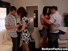Classy babes pummeling at swingers party