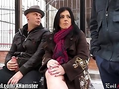 Spanish Cougar Picked up in Public and Double Penetration'd