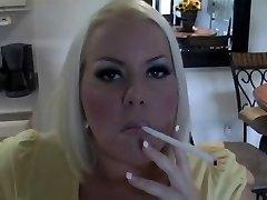 Torrid Busty Blonde MILF Smoking Solo