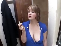 smoking girl down blouse giant breast