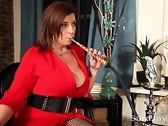Sara Jay Smokes A Hookah and Big Black Cock