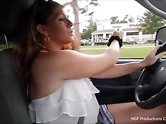 Rebel smokes and wanks faux-cock while driving