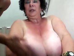 FRENCH BBW 65YO Grandmother OLGA FUCKED BY 2 Dudes - DP