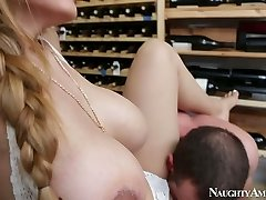 Brutal guy Jordan Ash humps mega busty hottie Yurizan Beltran in champagne cellar