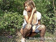 Furry woman Riana S loves her walk outside