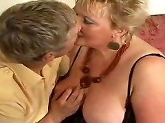 Huge golden-haired grannie drilled by youthful stud