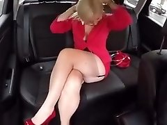 In the Car with Malene in FF stockings mini skirt High Stilettos