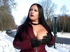 Leather Coat Showing in Public - Blowjob Handjob with Leather Gloves - Cum on my Hooters