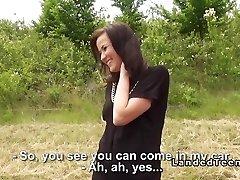 Stranded teen cutie boinks huge meatpipe outdoor