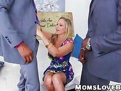 Super-steamy blonde MILF Julia Ann hammered in 3some by BBCs