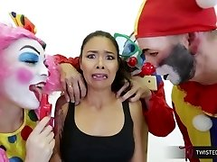 TwistedVisual.Com - Chinese MILF Gangbanged and Dual Penetrated by Clowns