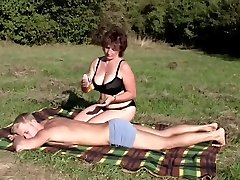 Brunette BBW-Milf Outdoors by Youthful Guy