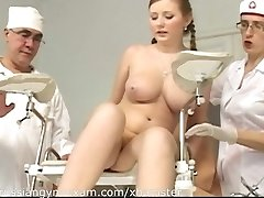 a plumpy busty Russian babe on a gynecology exam gets humiliated