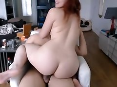 Luxurious lush redhead babe riding BF cock cum on face