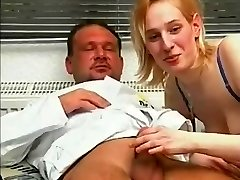 Blond female has sex with huge cock therapist
