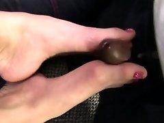 Blonde foot fucking babe