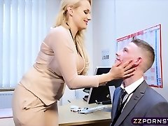 Sexy big-boobed teacher fucked rock hard in her office