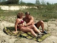 Mature with small globes big nipples gets fuck on beach