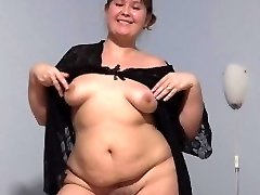 young cute plump with wooly by a cooch, fucking with dildo.