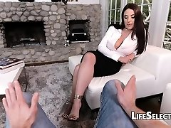 Busty MILF Angela Milky loves foot fetish with her cotenant