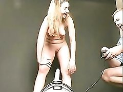 Young blondie impales her thirsty wet pussy on a huge sybian