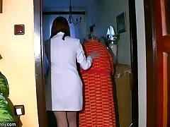 Plus-size chubby Nurse masturbate with old Grandma
