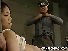 Japanese chick restricted down and slammed with fat dicks