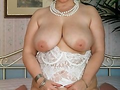 BBW in white lingerie playing with her tits