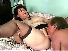 Sucking Madisons hairy old pussy is a real pleasure for her husband