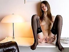 Black stockings and pussy masturbation