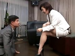 asian foot femdom smoking with cigarette proprietor