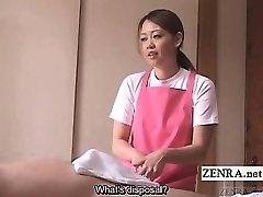 Subtitled CFNM Japanese caregiver elderly fellow hj