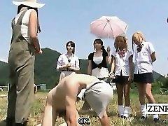 Subtitled CFNM outdoor Chinese semen jacking ranch