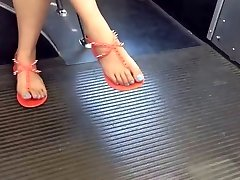 Candid Asian Feet and Gams on the Bus