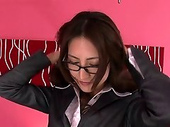 Asian girl in glasses undresses off her secertary suit and gets showered