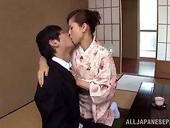 Yuri Matsushima hot mature Asian stunner in kimono gets 69