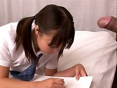 Lusty Asian school slut Momoka Rin sucks sugary-sweet cock of her camera fellow