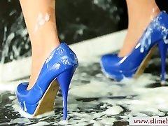 Jizm drenched mass ejaculation babe slimed