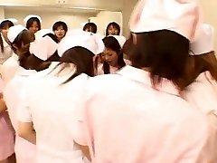Asian nurses enjoy fuck-a-thon on top