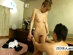 Japanese newhalf she-creature is stripped nude with blowjob