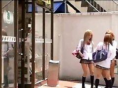 Japanese Tgirl in uniform romps her classmate